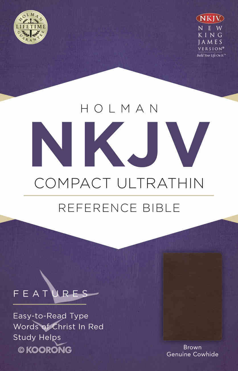 NKJV Compact Ultrathin Bible Brown Genuine Leather