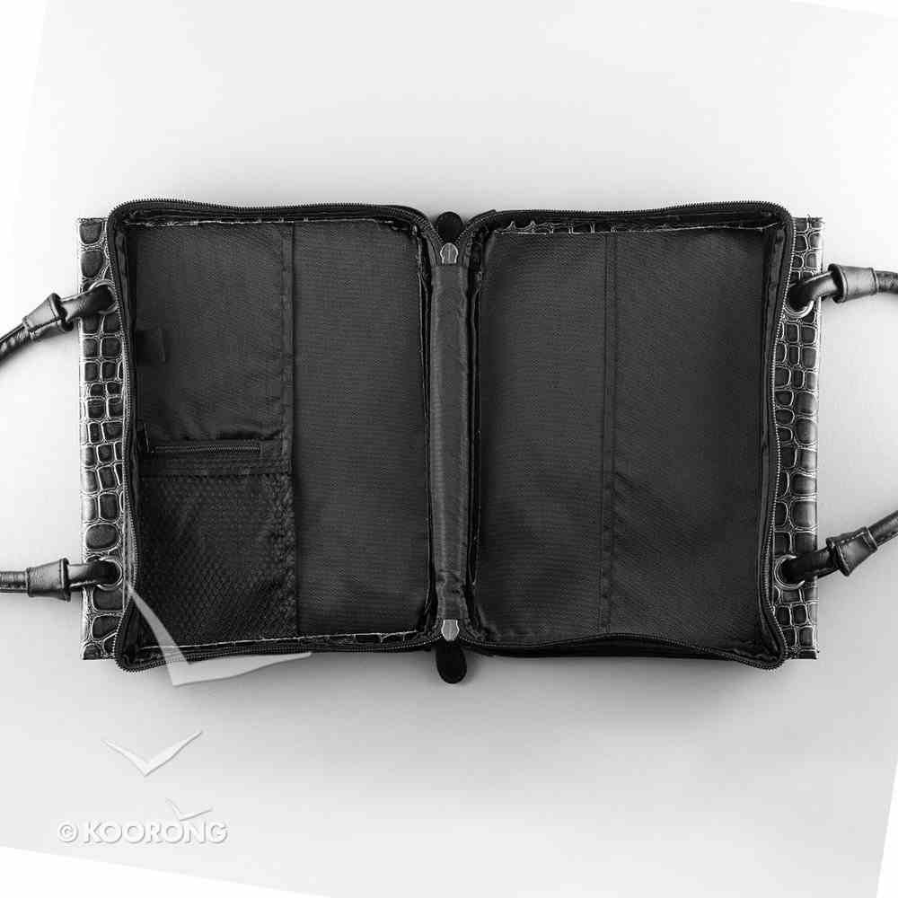 Bible Cover Medium Purse Crock Embossed Black With Decorative Silver Cross Bible Cover