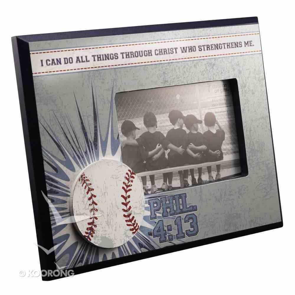 Wooden Photo Frame: Baseball I Can Do All Things Through Christ (Phil 4:13) Homeware