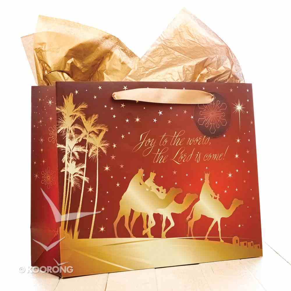 Christmas Gift Bag Large: Joy to the World, Three Wise Men With Tissue Paper & Gift Tag Stationery