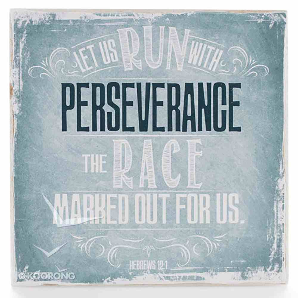 Small Wall Blocks: Finishing Strong, Let Us Run With Perseverance... (Turquoise) Plaque