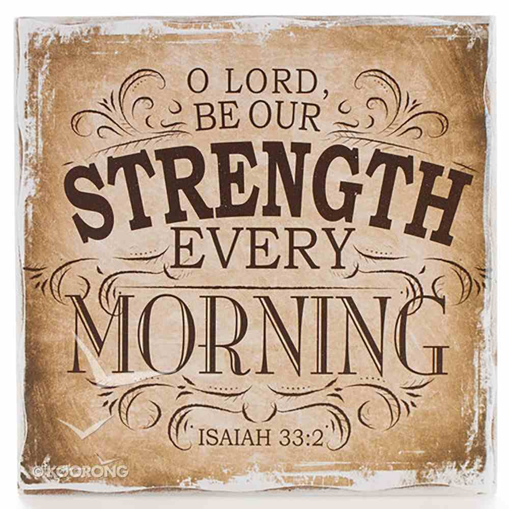 Small Wall Blocks: Finishing Strong, O Lord, Be Our Strength (Beige/tan) Plaque