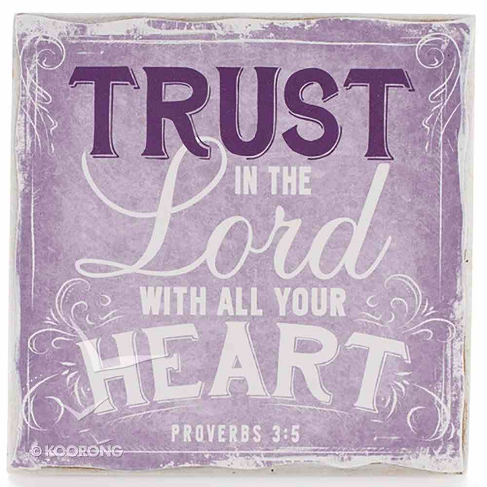 Small Wall Blocks: Finishing Strong, Trust in the Lord.. (Purple) Plaque