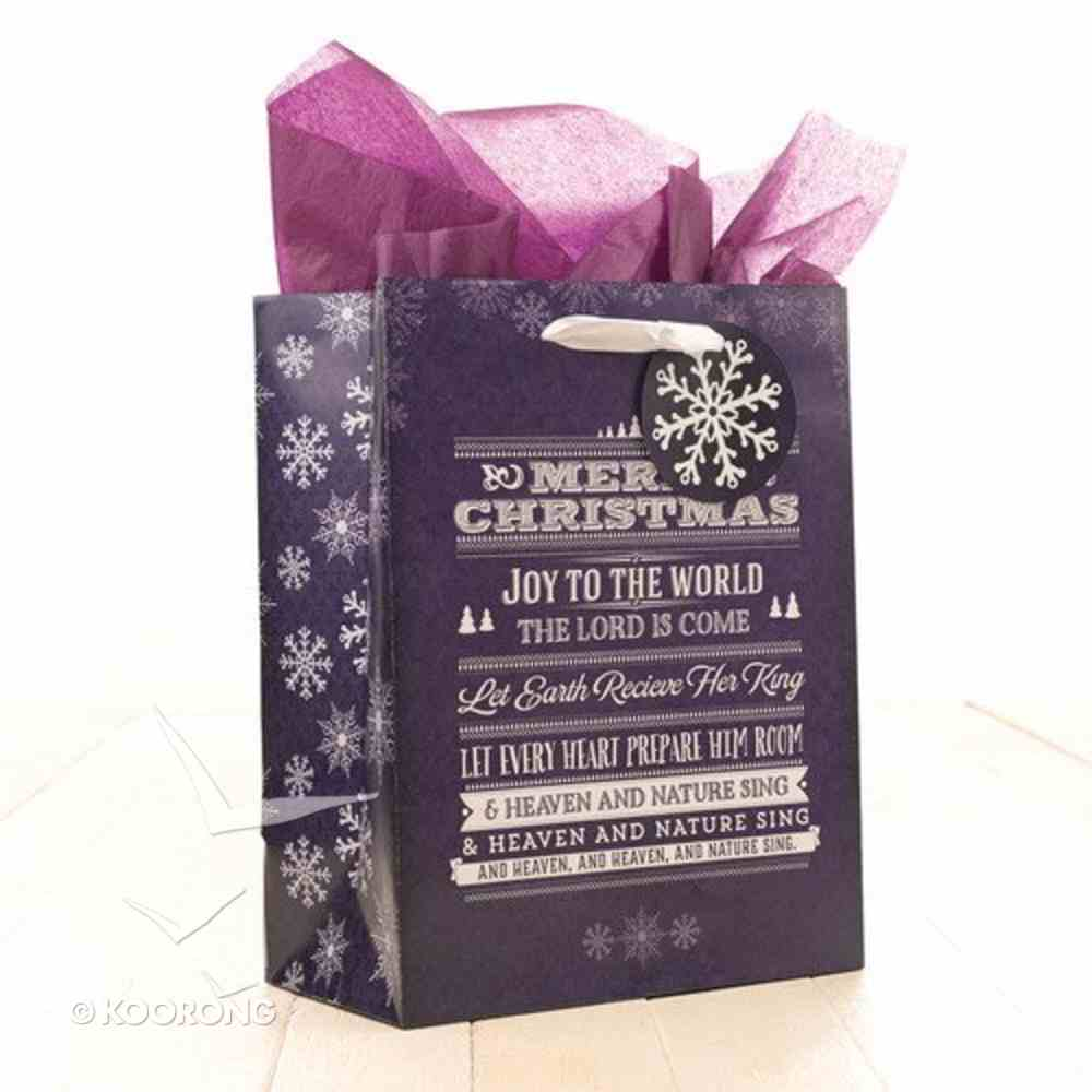 Christmas Gift Bag Medium: Joy to the World With Tissue Paper & Gift Tag Stationery