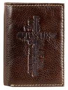 Mens Genuine Leather Wallet: Jesus Cross Soft Goods