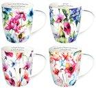 Ceramic Mugs 296ml: Seeds of Love, Floral (Set Of 4) Homeware