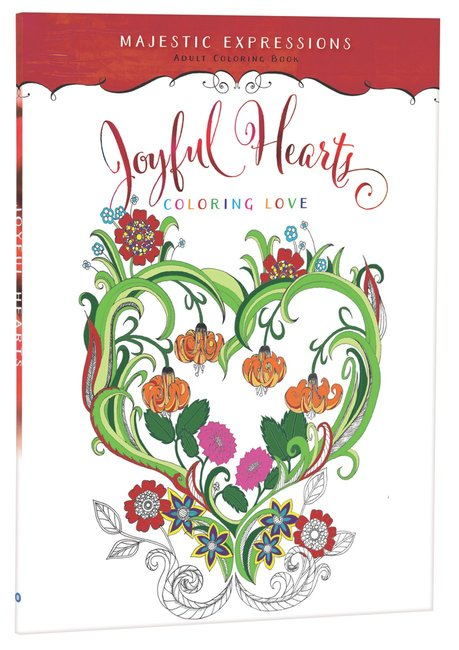 Product: Adult Colouring Book: Majestic Expressions: Joyful Hearts Image