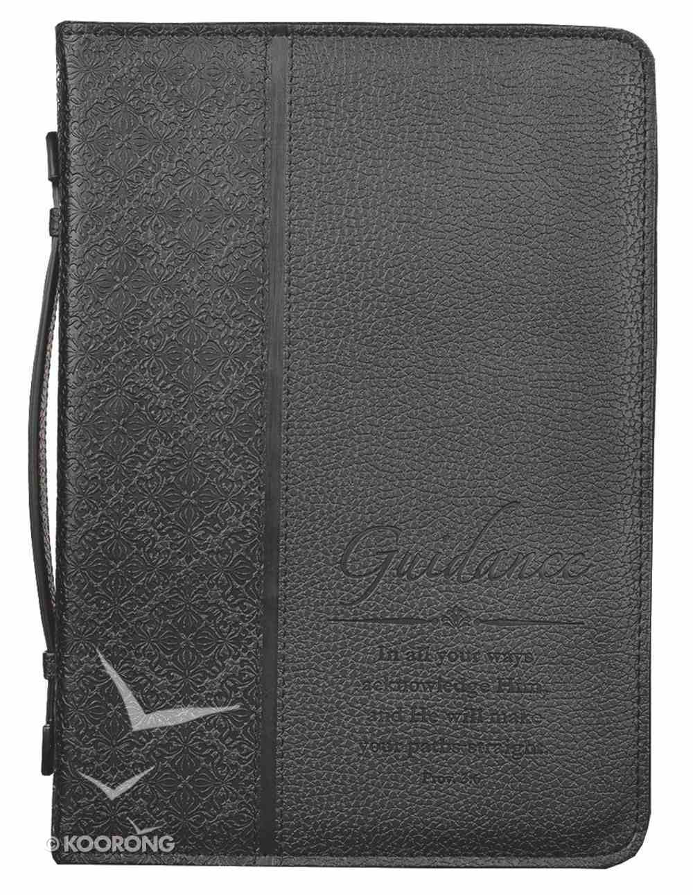 Bible Cover Classic Large: Guidance Proverbs 3:6 Black Luxleather Bible Cover