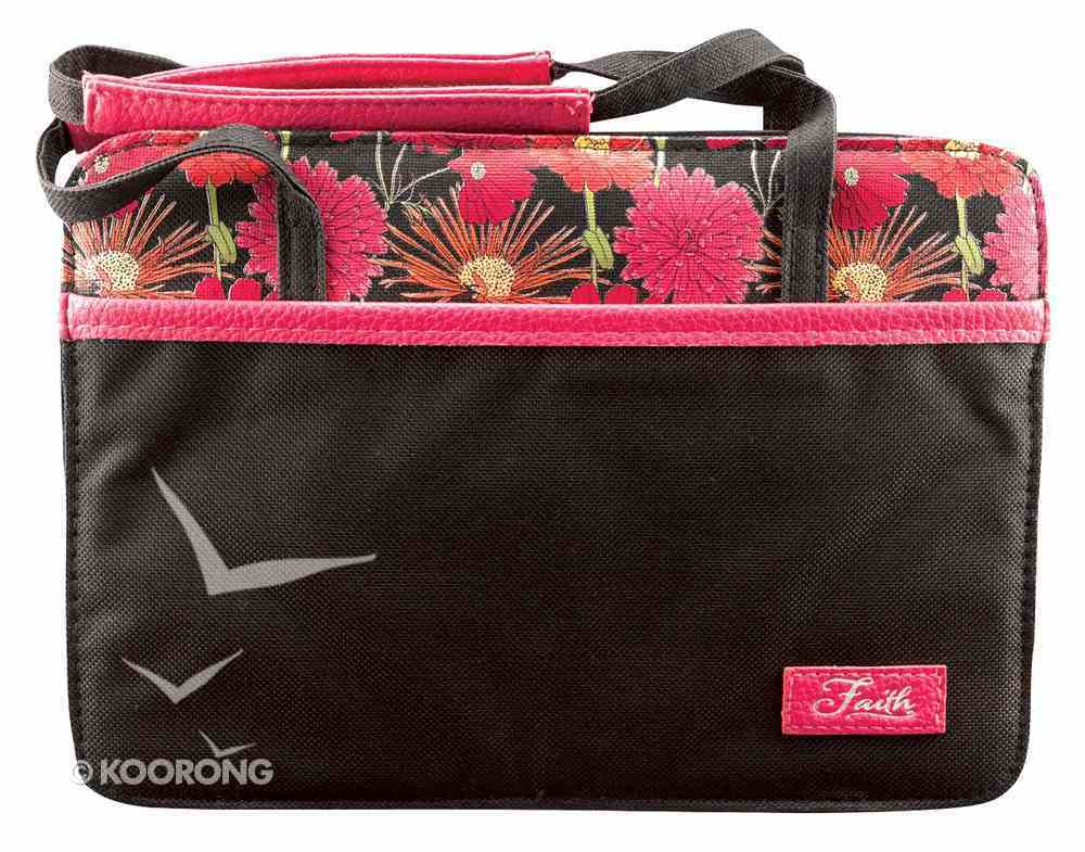 Bible Cover Canvas Purse-Style Large: Pink Flowers Faith Bible Cover