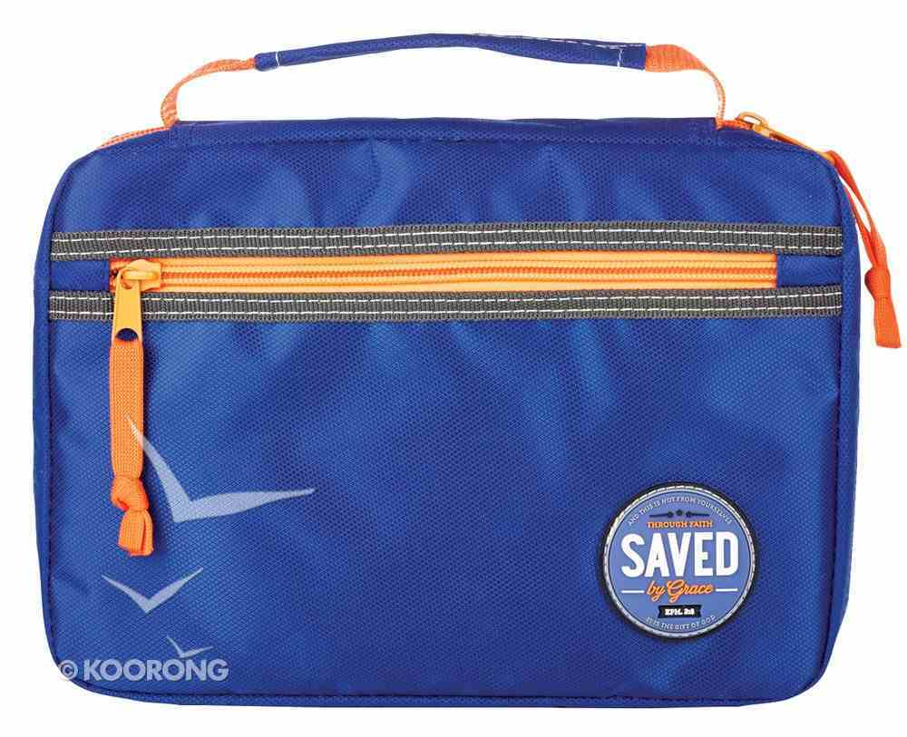 Bible Cover Large: Saved By Grace Ephesians 2:8 Blue/Orange Nylon Bible Cover
