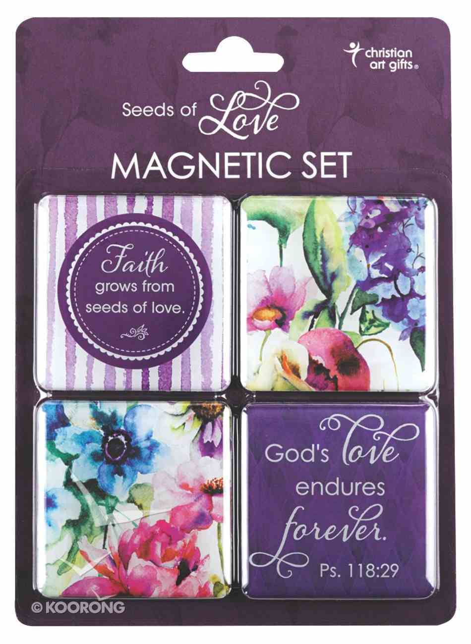 Magnetic Set of 4 Magnets: Seeds of Love (Purple/flowers) Novelty