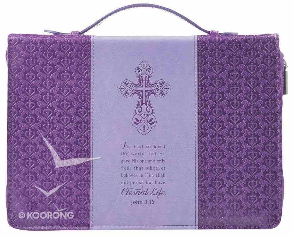 Bible Cover Fashion Large: John 3:16 Purple Debossed Luxleather Bible Cover