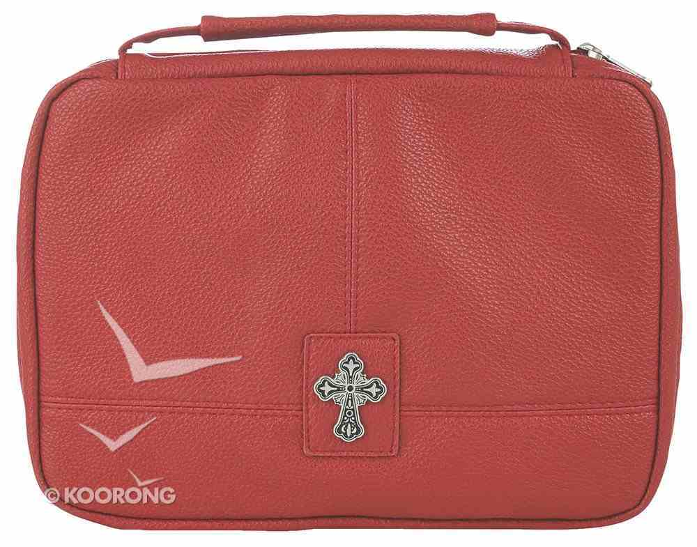 Bible Cover Two-Fold Organizer Large: Cross Red Soft Leatherlike Bible Cover
