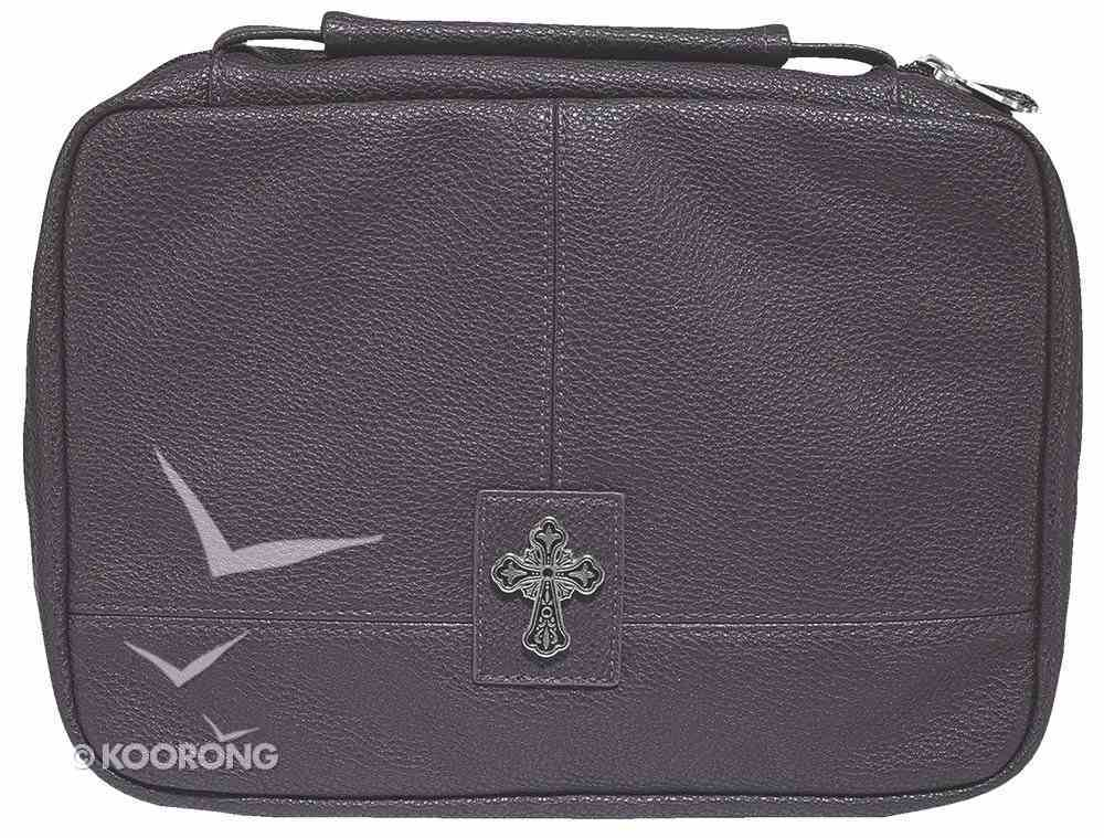 Bible Cover Two-Fold Organizer Medium: Cross Purple Soft Leatherlike Bible Cover