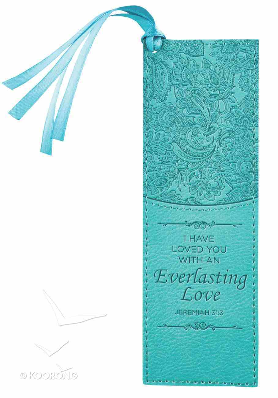 Bookmark With Tassel: I Have Loved You With An Everlasting Love Turquoise Imitation Leather