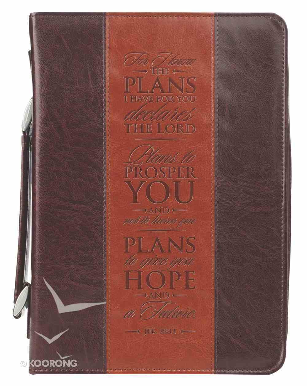 Bible Cover Classic Large: I Know the Plans Jer. 29:11 Dark Brown/Brown Bible Cover