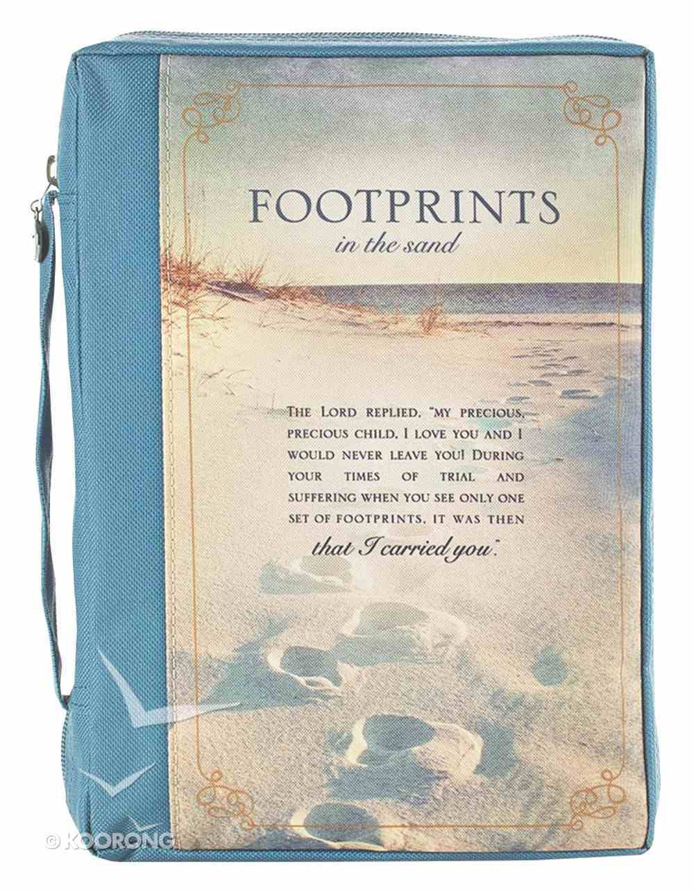 Bible Cover Polyester Large: Footprints in the Sand, Navy/Picture Bible Cover