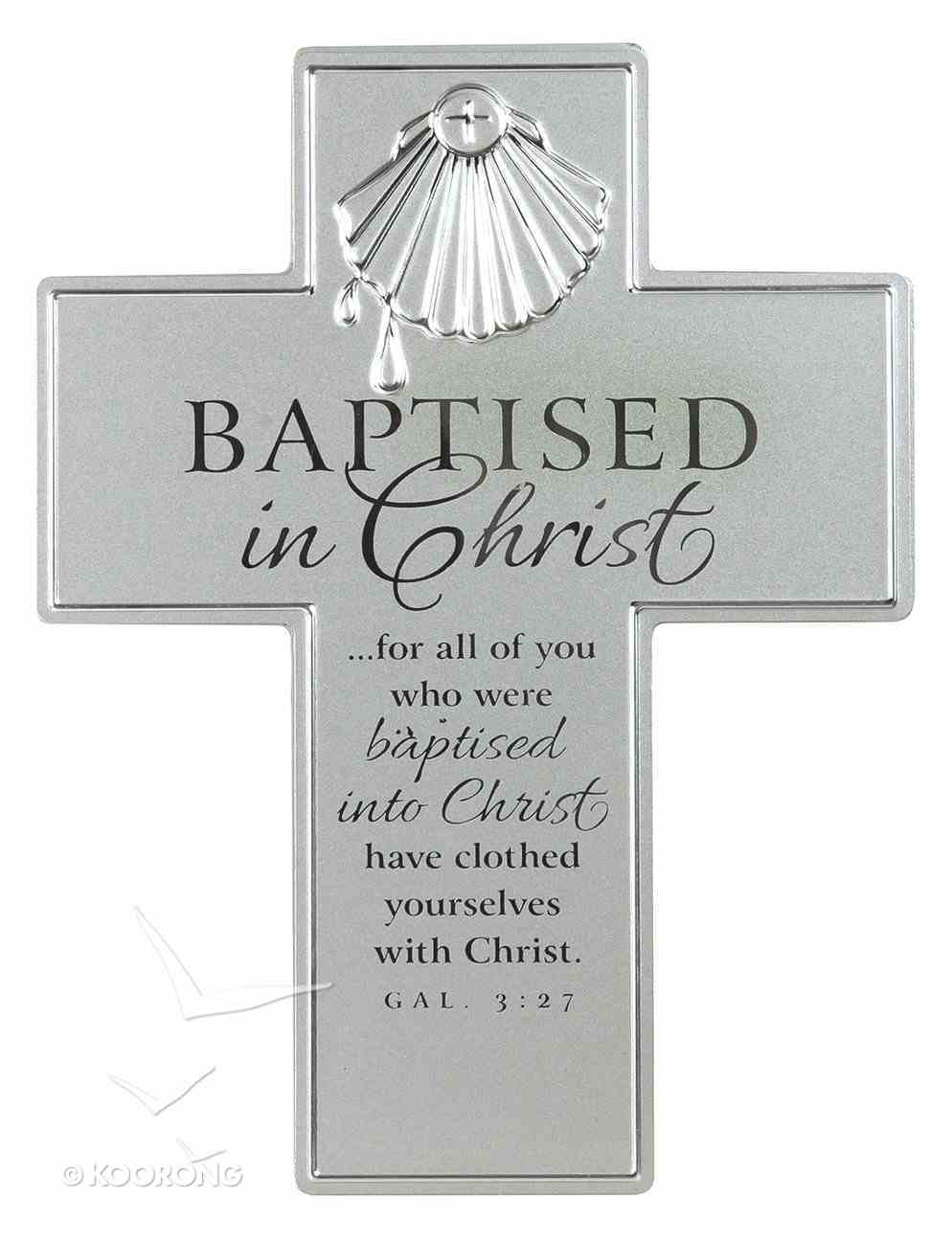 Cross: Baptism: Silver Satin Metal With Raised Symbol Homeware