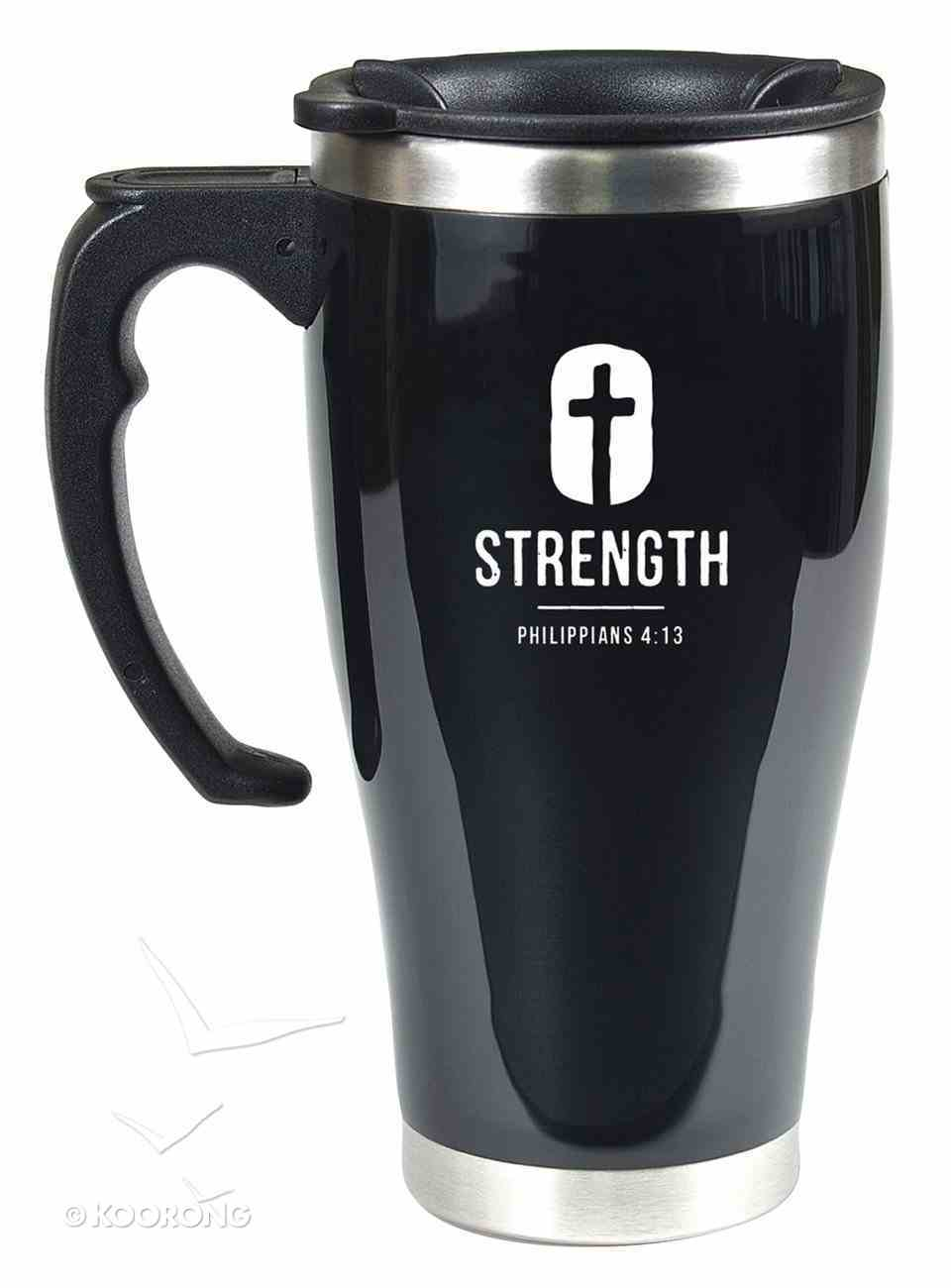 Stainless Steel Travel Mug With Handle: Strength (Phil 4:13) Homeware