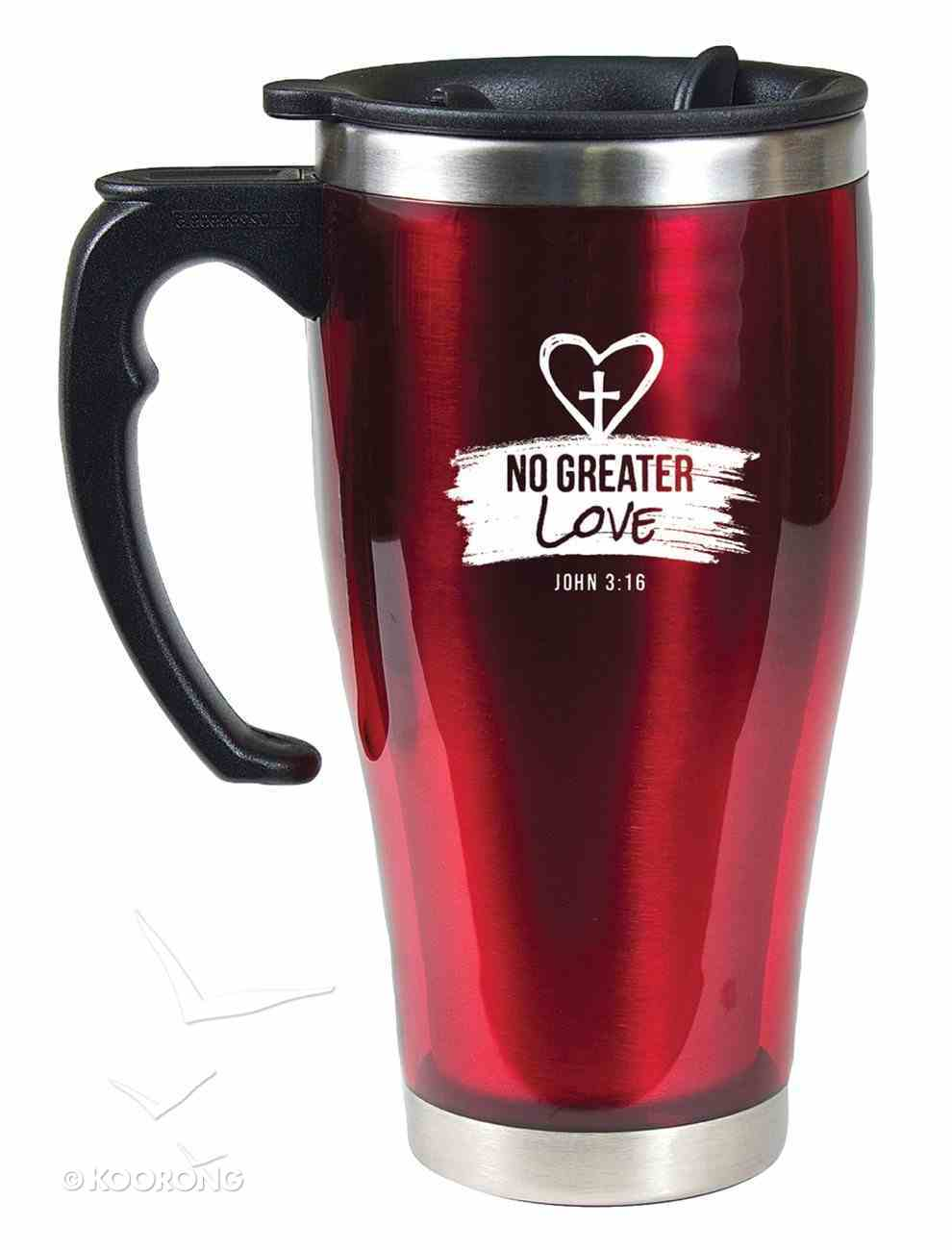 Stainless Steel Travel Mug With Handle: No Greater Love (John 3:16) Homeware