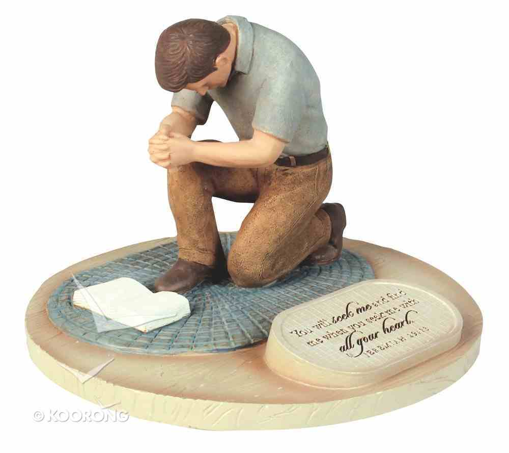 Devoted Sculpture: Praying Man You Will Seek Me and Find Me... (Jeremiah 29:13) Homeware