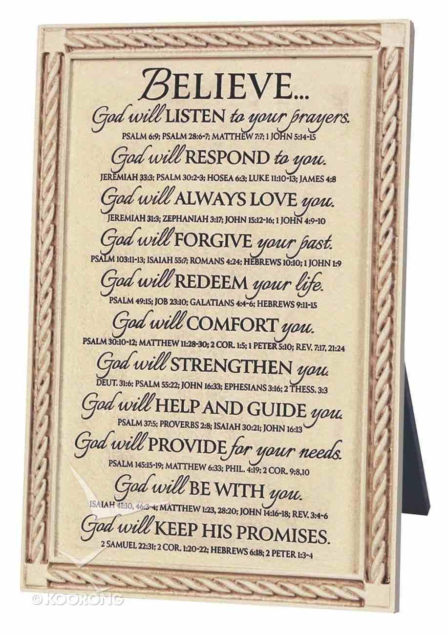 Word Study Plaque: Believe God Will (18cm X 27cm) Plaque