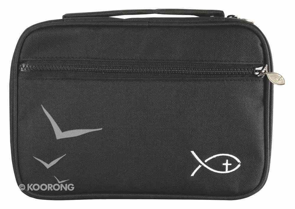 Bible Cover Deluxe With Fish Symbol: Black Large Bible Cover
