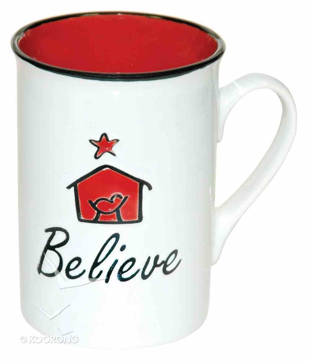 Christmas Ceramic Mug: Believe, Embossed Design on Front, Luke 2:11 Homeware