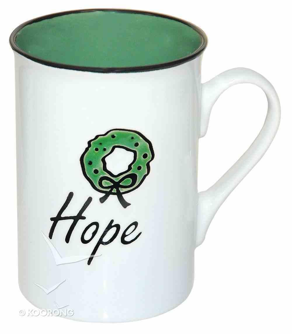 Christmas Ceramic Mug: Hope, Embossed Design on Front, Romans 15:13 Homeware