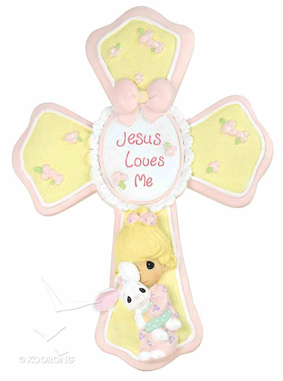 Precious Moments Cross: Girl, Jesus Loves Me, Yellow/Pink/White Homeware