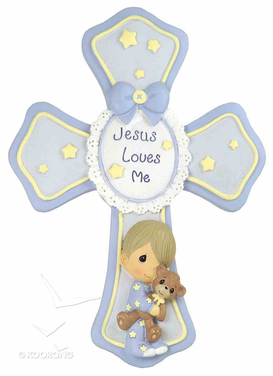Precious Moments Cross: Boy, Jesus Loves Me, Blue/Yellow Stars/White Homeware
