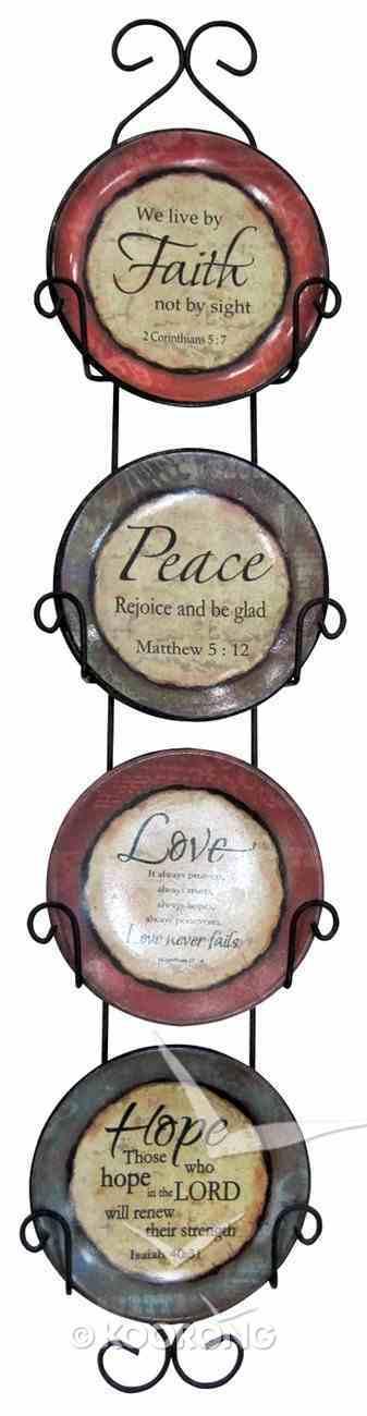 Ceramic Plate Set of 4 With Rack: Faith, Peace, Love & Hope Homeware