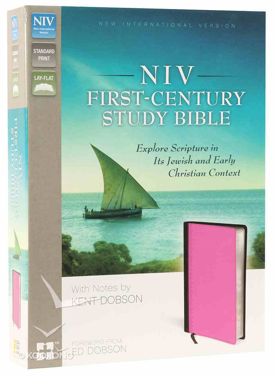 NIV First-Century Study Bible Chocolate/Orchid (Black Letter Edition) Premium Imitation Leather
