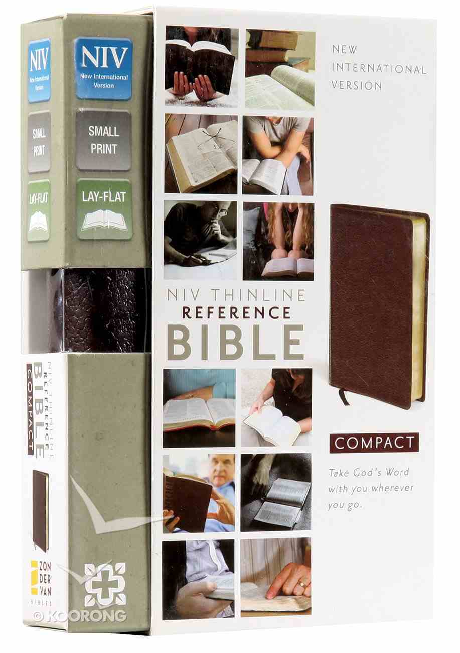 NIV Compact Thinline Reference Bible Burgundy (Red Letter Edition) Bonded Leather