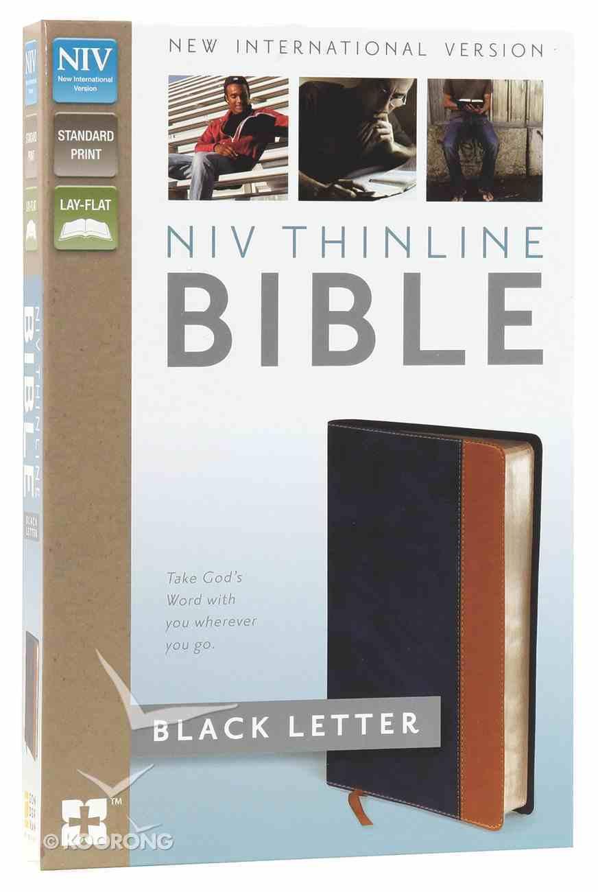 NIV Thinline Bible Blue/Tan Imitation Leather