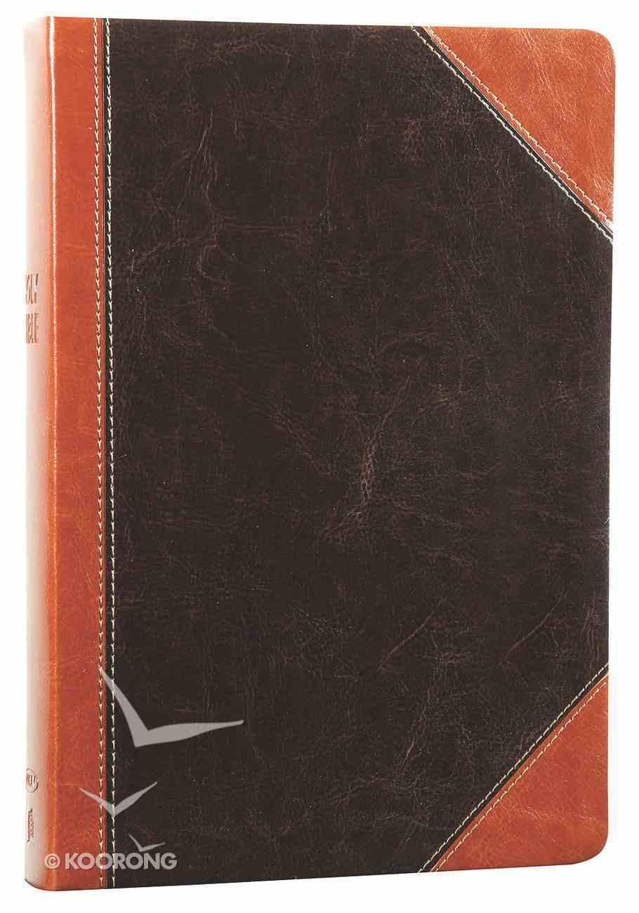 NKJV Giant Print Center-Column Reference Rich Espresso/Rich Auburn (Red Letter Edition) Premium Imitation Leather
