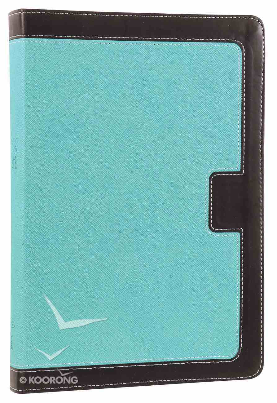 NKJV Giant Print Center-Column Reference Bible Turquoise/Espresso (Red Letter Edition) Premium Imitation Leather
