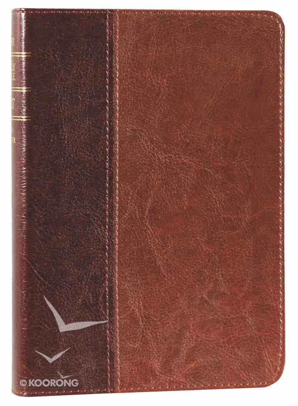 NLT Slimline Center Column Reference Large Print Compact Brown/Tan Tu Tone Imitation Leather