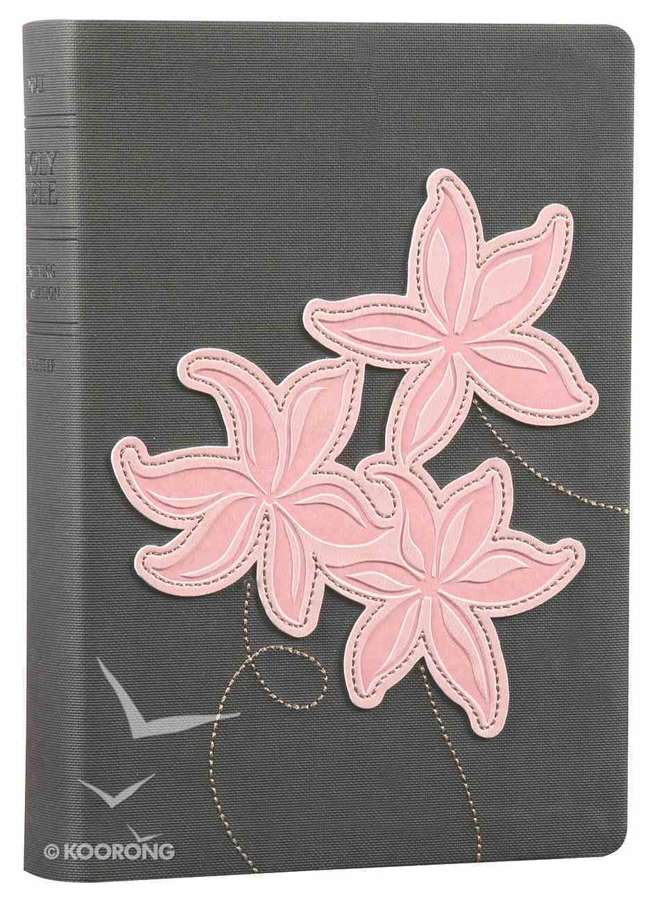 NLT Compact Large Print Bible Grey Pink Flowers (Red Letter Edition) Imitation Leather