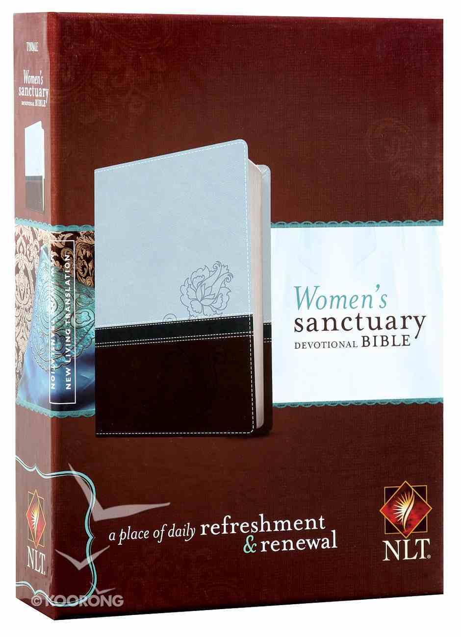 NLT Women's Sanctuary Devotional Bible Cool Blue/ Chocolate Rose (Black Letter Edition) Imitation Leather