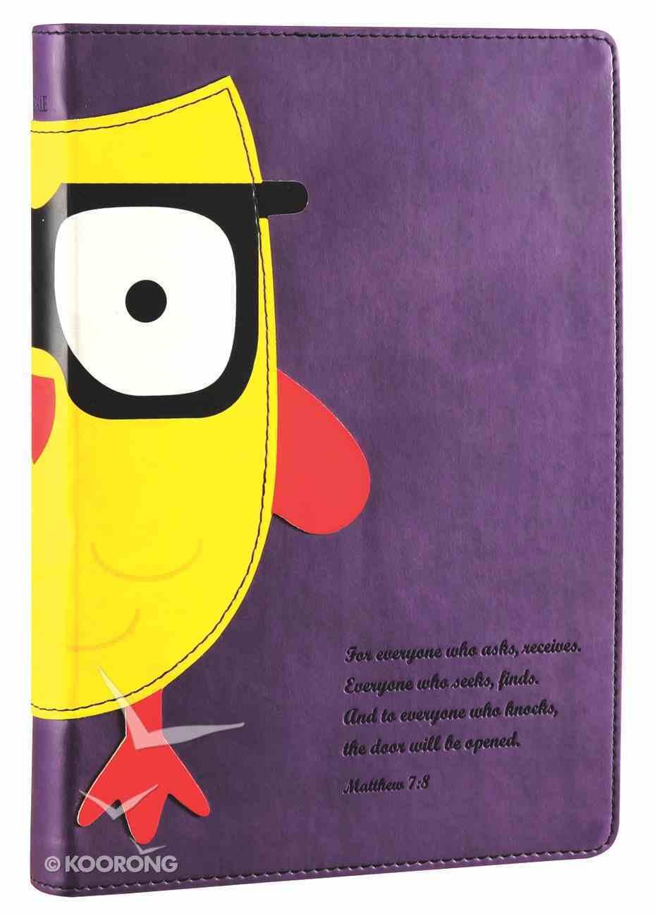 NLT Kids Slimline Bible Matthew 7: 8 Purple/Yellow Owl Wisdom (Black Letter Edition) Imitation Leather