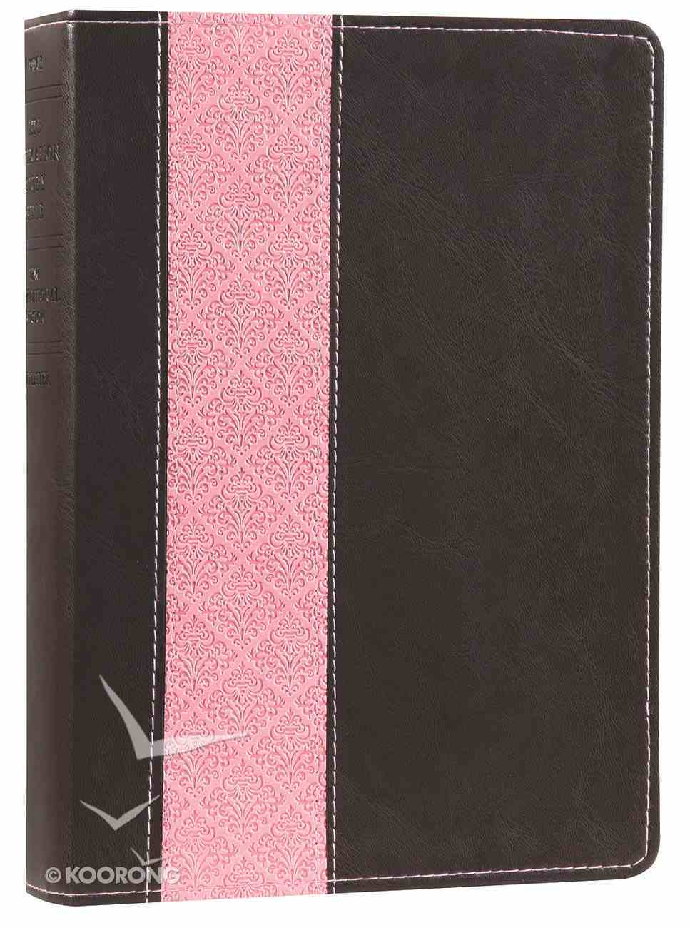 NIV Life Application Study Bible Dark Brown/Pink (Red Letter Edition) Imitation Leather