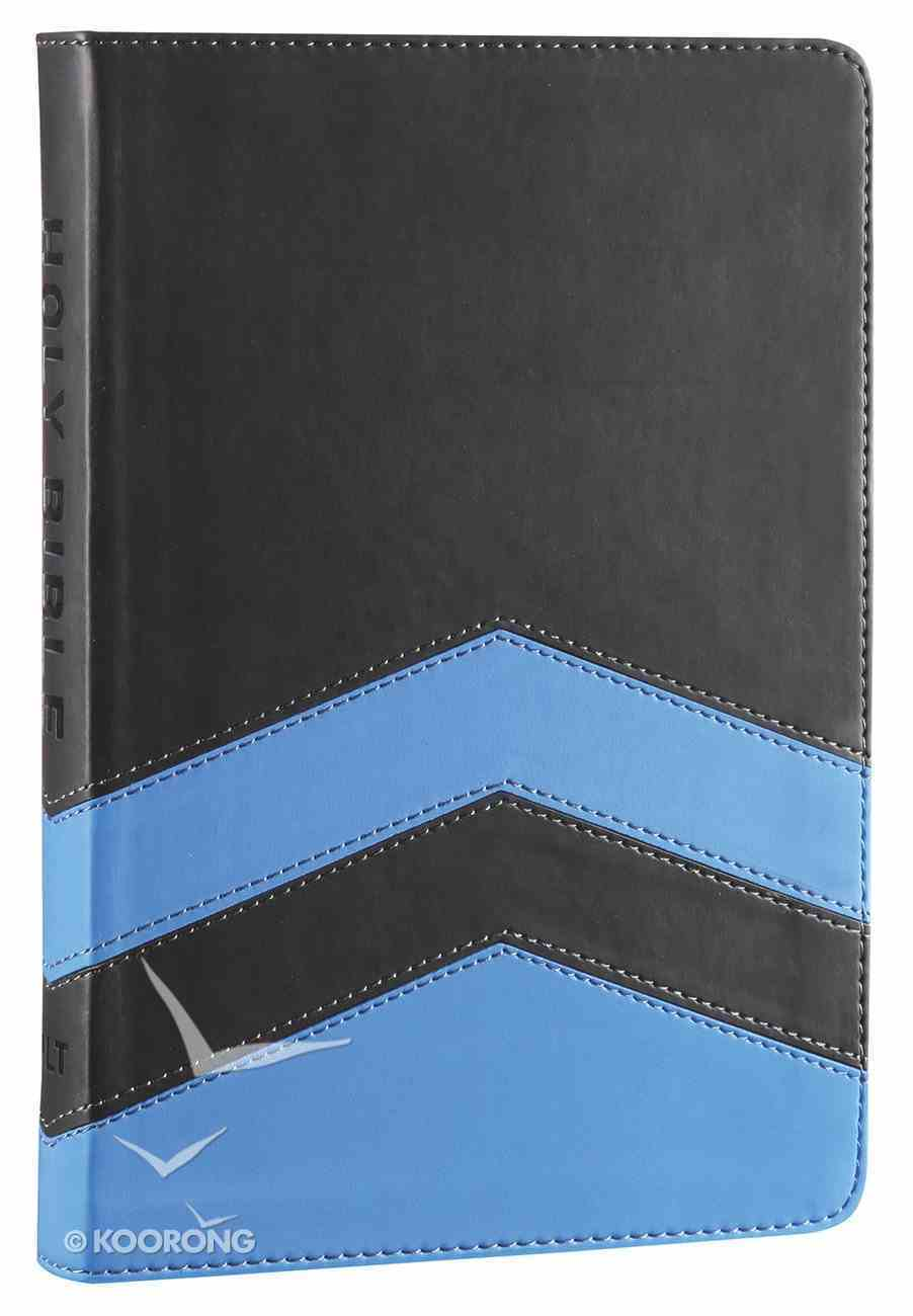 NLT Guys Slimline Bible Charcoal Blue Chevron (Red Letter Edition) Imitation Leather
