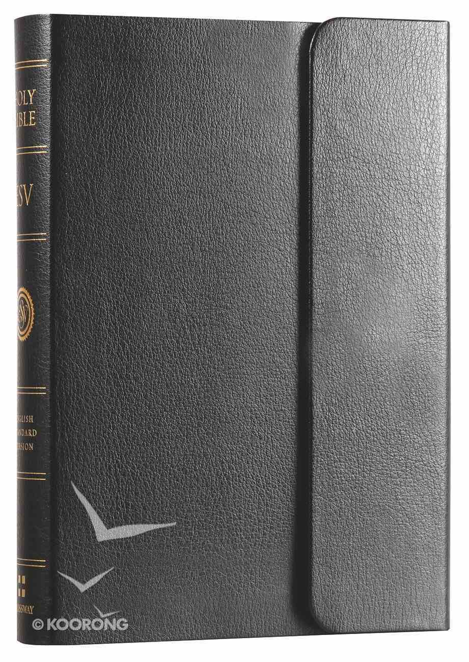 ESV Large Print Compact Bible With Snap Black Bonded Leather