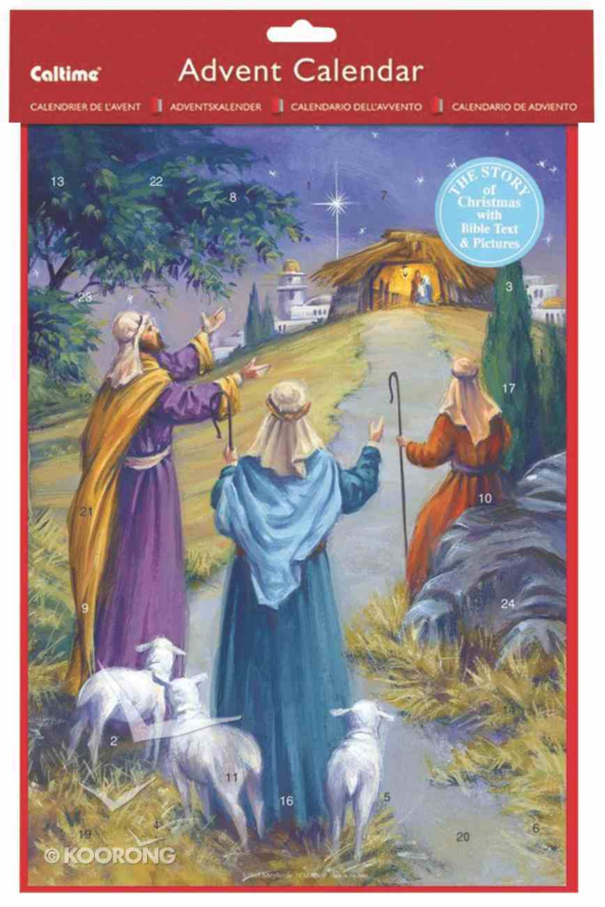 Advent Calendar: Shepherds With Bible Text & Pictures Calendar