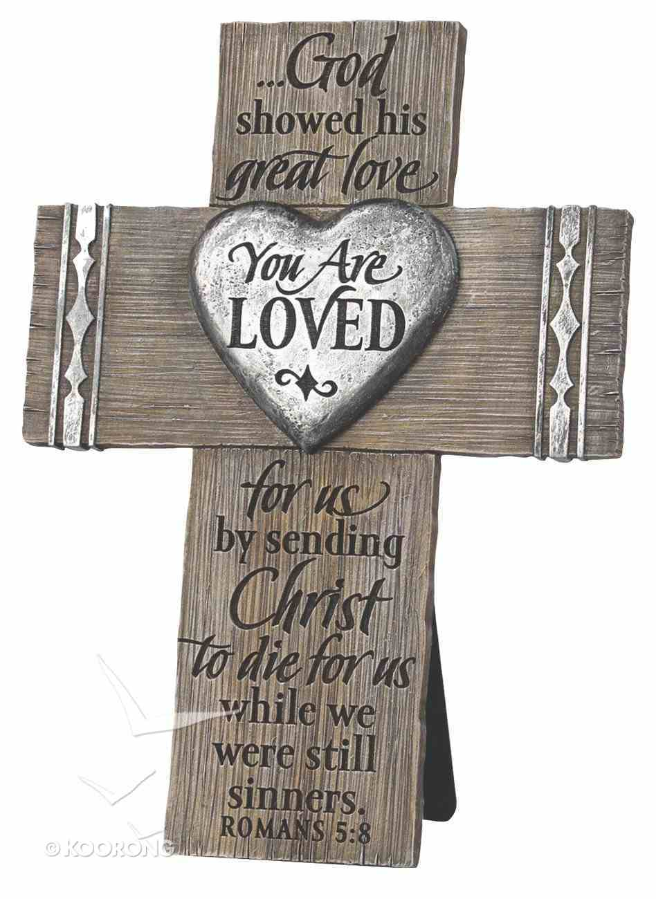 Cross Cast Stone: You Are Loved Power of the Cross Booklet Included (Romans 5:8) Homeware