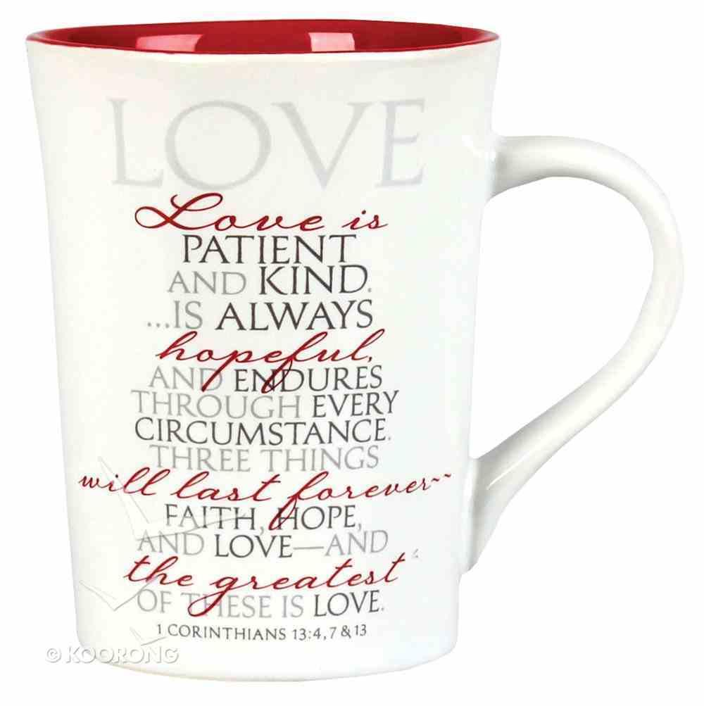 Ceramic Mug: Love is Patient, Love is Kind... (Red Interior) (1 Cor 13) Homeware