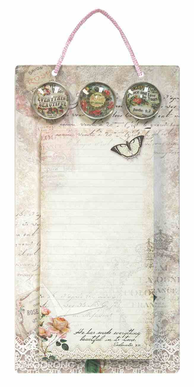 Metal Sign List Pad & 3 Magnets (Vintage Rose Collection Series) Stationery