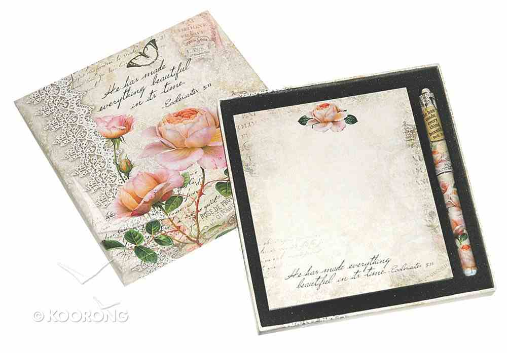 Memo Pad & Pen Giftset (Vintage Rose Collection) Pack