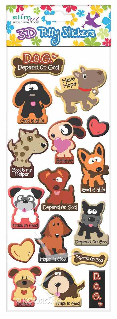 Puffy Stickers: Puppy, Depend on God (1 Sheet Per Pack) Novelty